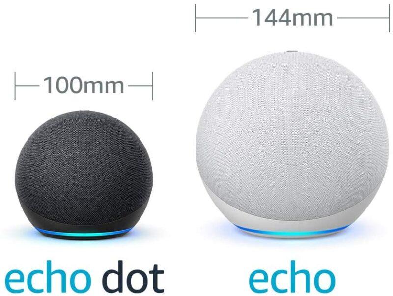 Echo Dotと Echoサイズ比較